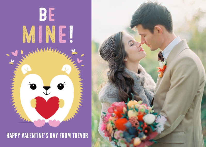 Valentine's Cards 5x7 Folded Cards, Premium Cardstock 120lb, Card & Stationery -Be Mine Porcupine