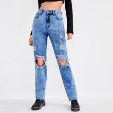 Jeans mit hoher Taille und Riss