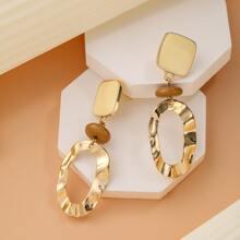 Irregular Textured Metal Drop Earrings