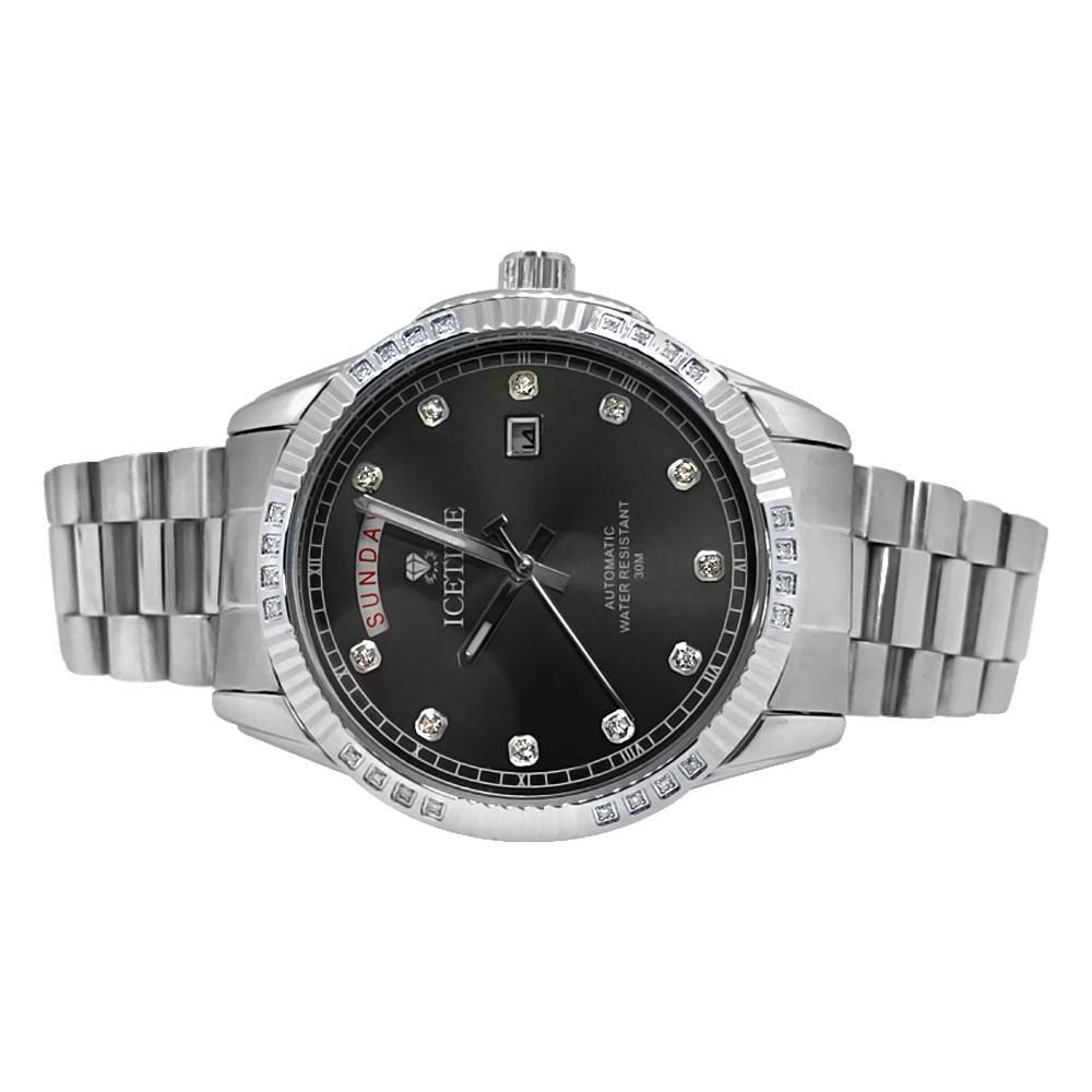 IceTime Falcon Silver Steel .12cttw Diamond Watch