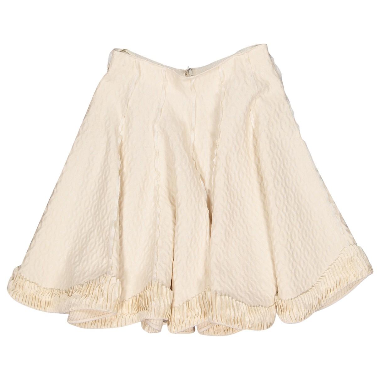 Alaïa \N Ecru Wool skirt for Women 40 FR