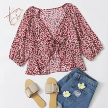 Plus Tie Front Ruffle Hem Ditsy Floral Top