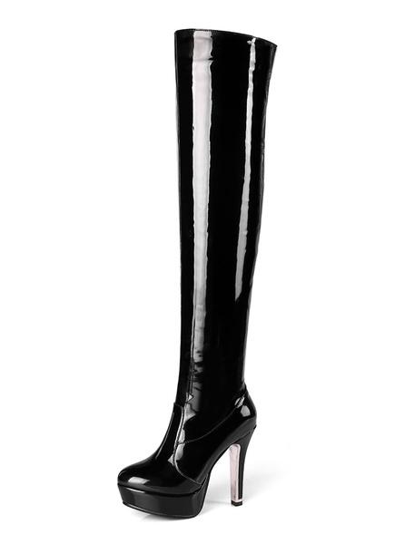 Milanoo Botas altas mujer Rojo con pala de charol de tacon de stiletto de puntera redonda 11.5cm de patente Otoño Invierno 3.5cm Cremallera