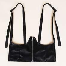 Zipper Decor Harness Belt