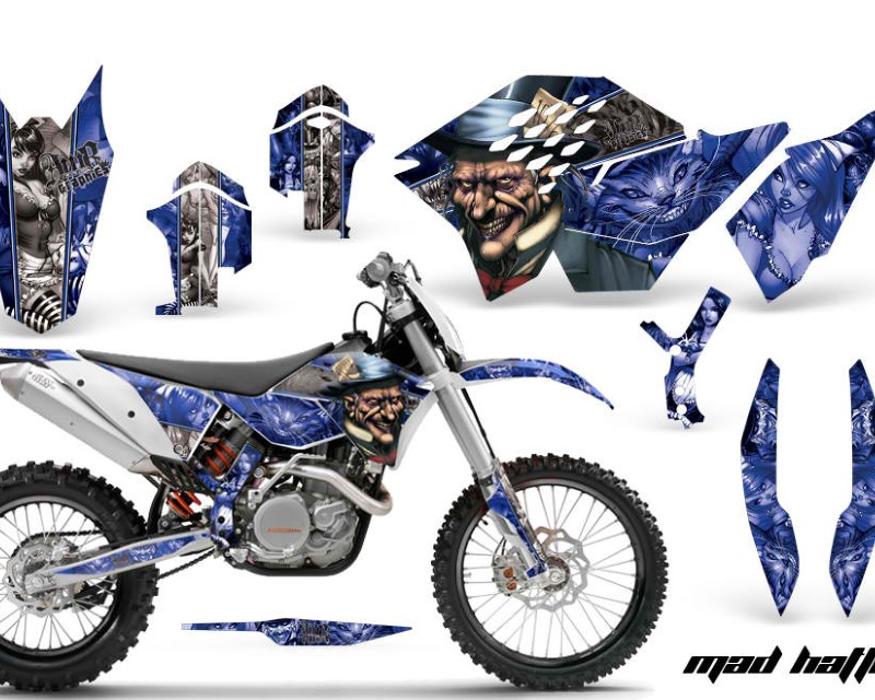 AMR Racing Dirt Bike Graphics Kit Decal Wrap For KTM SX/XCR-W/EXC/XC/XC-W/XCF-W 2007-2011áHATTER SILVER BLUE