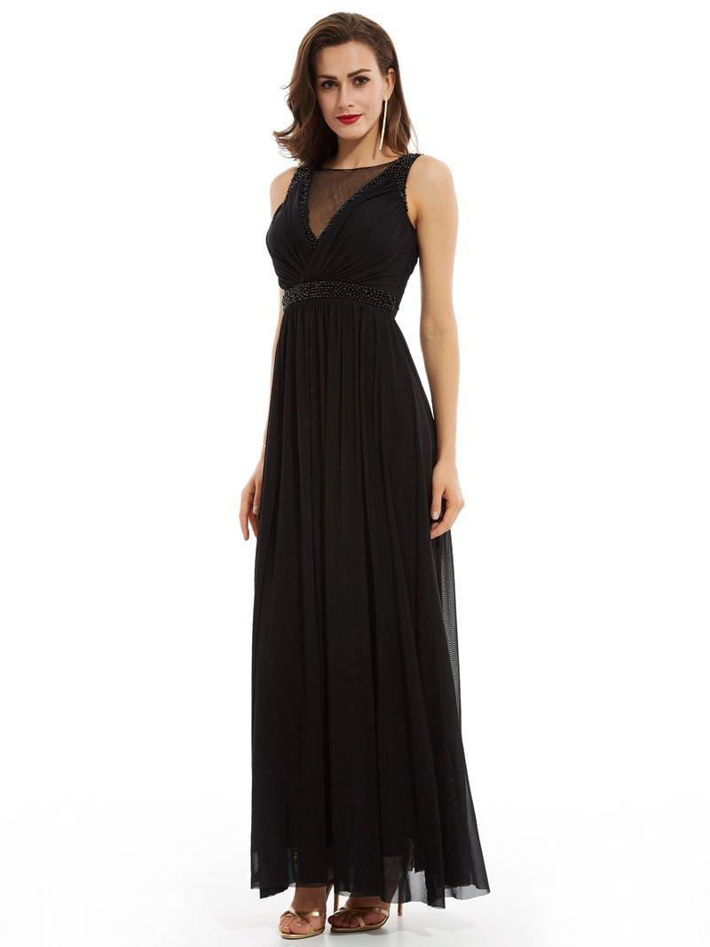 Ericdress A Line Scoop Neck Beaded Evening Dress With Zipper Up