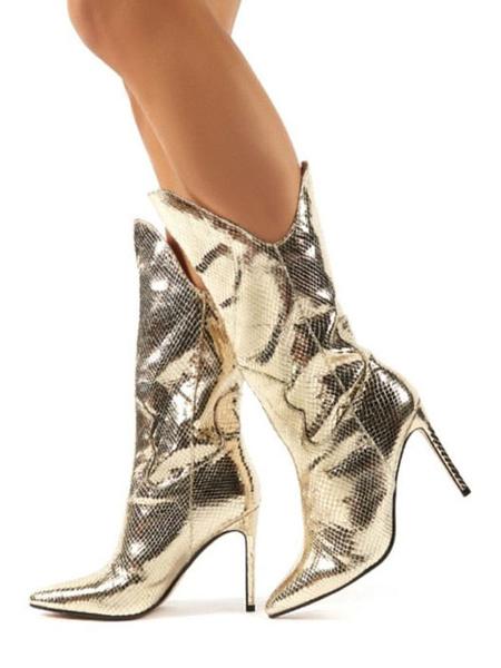 Milanoo Botas de media pantorrilla Botas de punta puntiaguda en dorado claro Botas de fiesta de cuero de PU Botas de baile