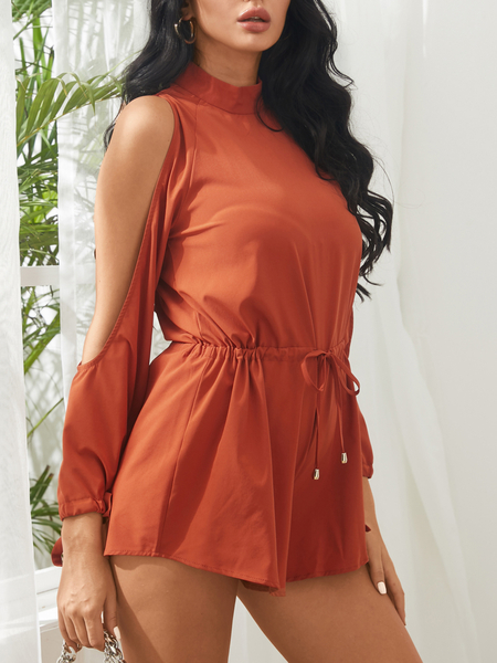 Yoins Sexy Cold Shoulder Playsuits in Orange