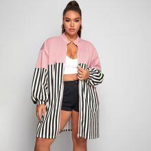 Plus Drop Shoulder Zip Up Striped Panel Coat