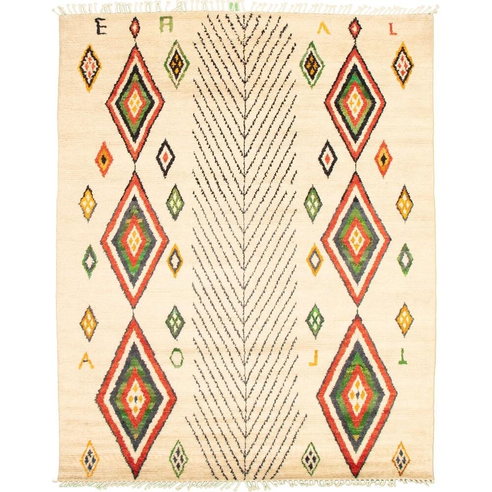 ECARPETGALLERY  Hand-knotted Pak Finest Marrakesh Cream Wool Rug - 8'1 x 10'3 (Cream - 8'1 x 10'3)