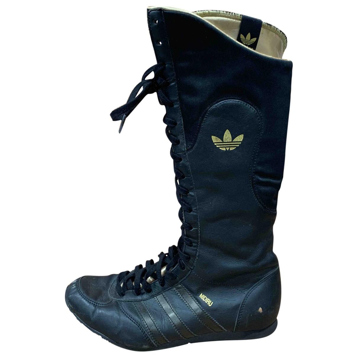 Adidas - Bottes   pour femme en cuir - noir