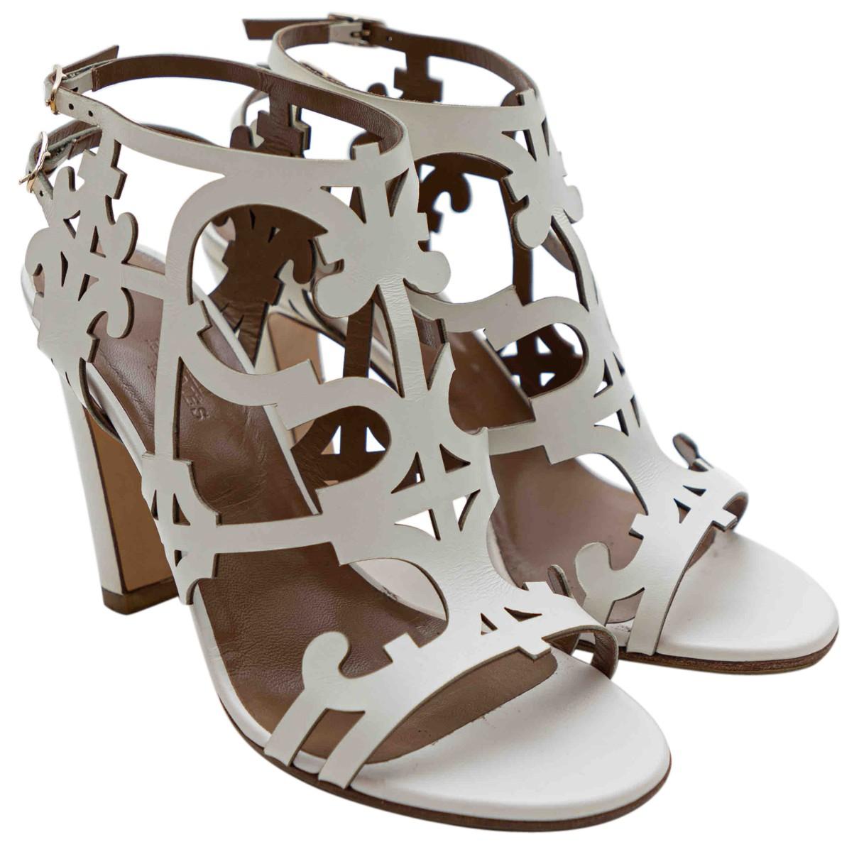 Hermes - Escarpins   pour femme en cuir - blanc