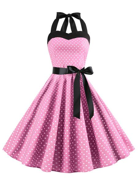 Milanoo Vestido vintage Vestido sin mangas Rockabilly de mujer de los años 50 - 120 cm sin mangas