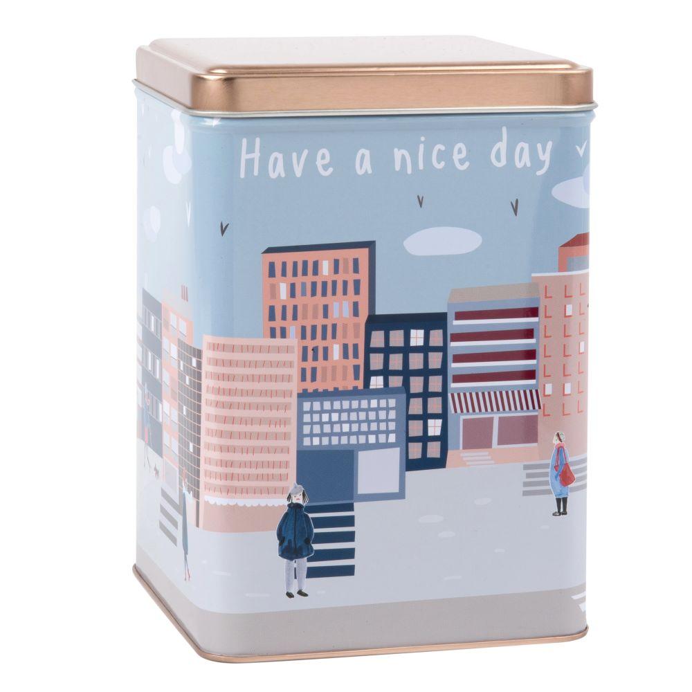 Keksdose aus Metall, bedruckt mit Stadt-Motiv
