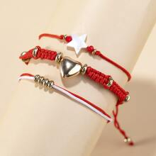 3 Stuecke Armband mit Stern & Herzen Dekor