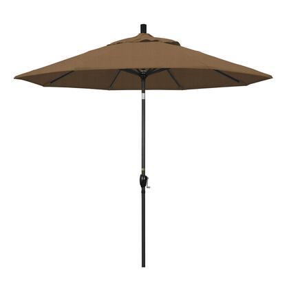 GSPT908302-F76 9' Pacific Trail Series Patio Umbrella With Stone Black Aluminum Pole Aluminum Ribs Push Button Tilt Crank Lift With Olefin Woven
