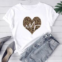 Plus Heart And Leopard Print Tee