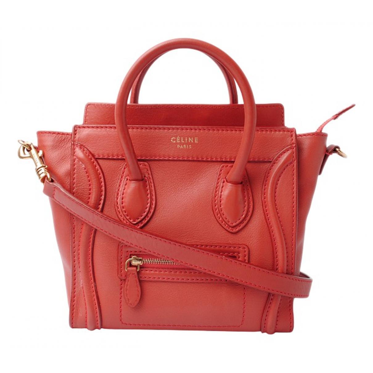 Celine Nano Luggage Handtasche in  Rot Leder