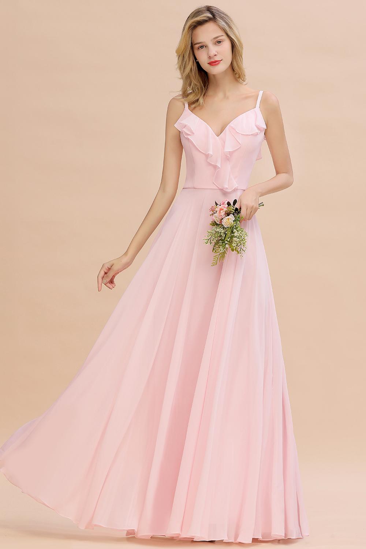 BMbridal Stylish Draped V-Neck Pink Chiffon Bridesmaid Dress with Spaghetti Straps