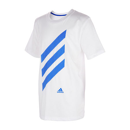 adidas Little Boys Short Sleeve T-Shirt, 5 , White