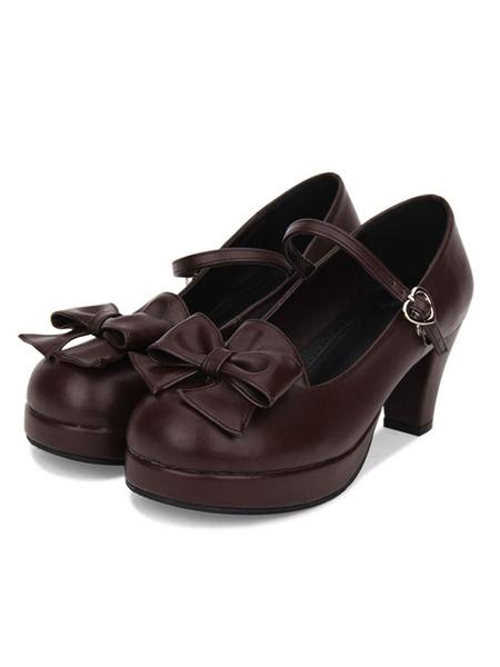 Milanoo Sweet Lolita Pumps Bow Platform PU Black Lolita Mary Jane Shoes