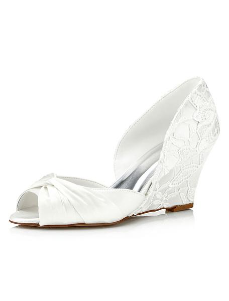 Milanoo Lace Bridal Shoes Ivory Wedge Peep Twisted Slip-on Wedding Shoes