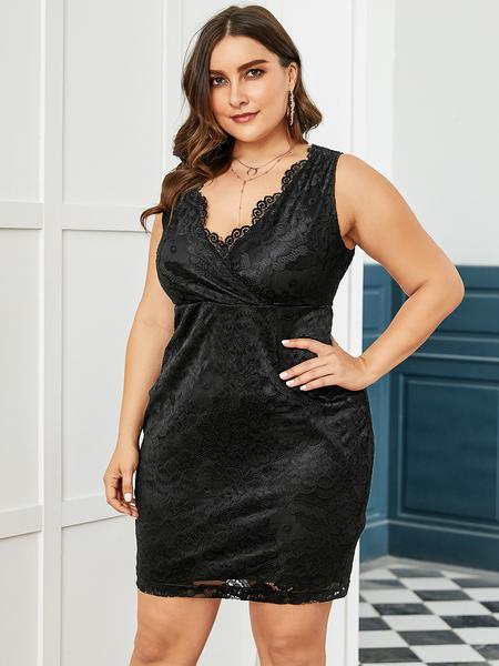 YOINS Plus Size Black Lace V Neck Dress