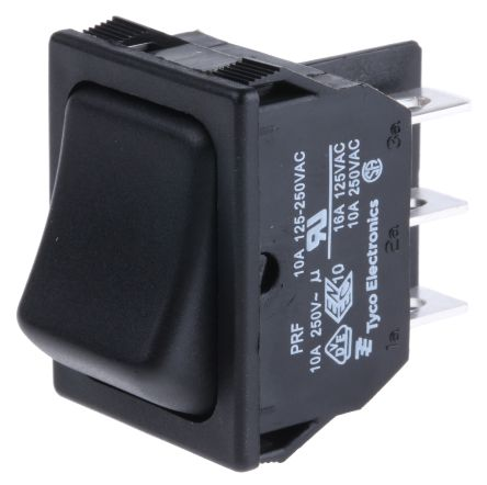 TE Connectivity Illuminated Double Pole Double Throw (DPDT), On-On Rocker Switch Panel Mount