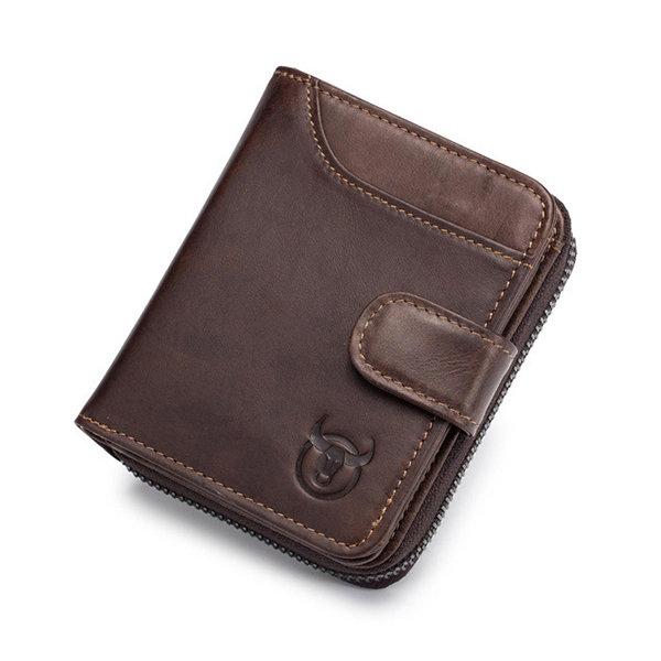 Cowhide 19 Card Holder Vintage Hasp Short Wallets Zipper Coin Purse