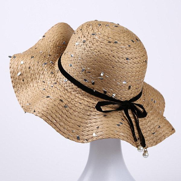 Women Leisure ColdBucket HatSummer Vacation Straw Round Top Hat Wide Brim Cap