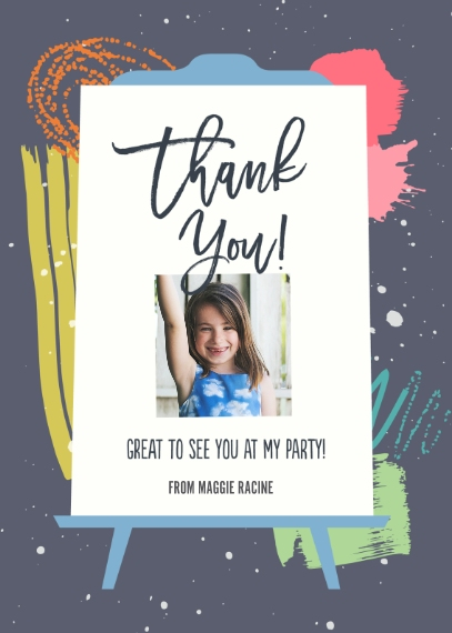 Birthday Thank You 5x7 Folded Cards, Premium Cardstock 120lb, Card & Stationery -Put The Art In Party Thank You