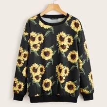 Drop Shoulder Sunflower Print Pullover