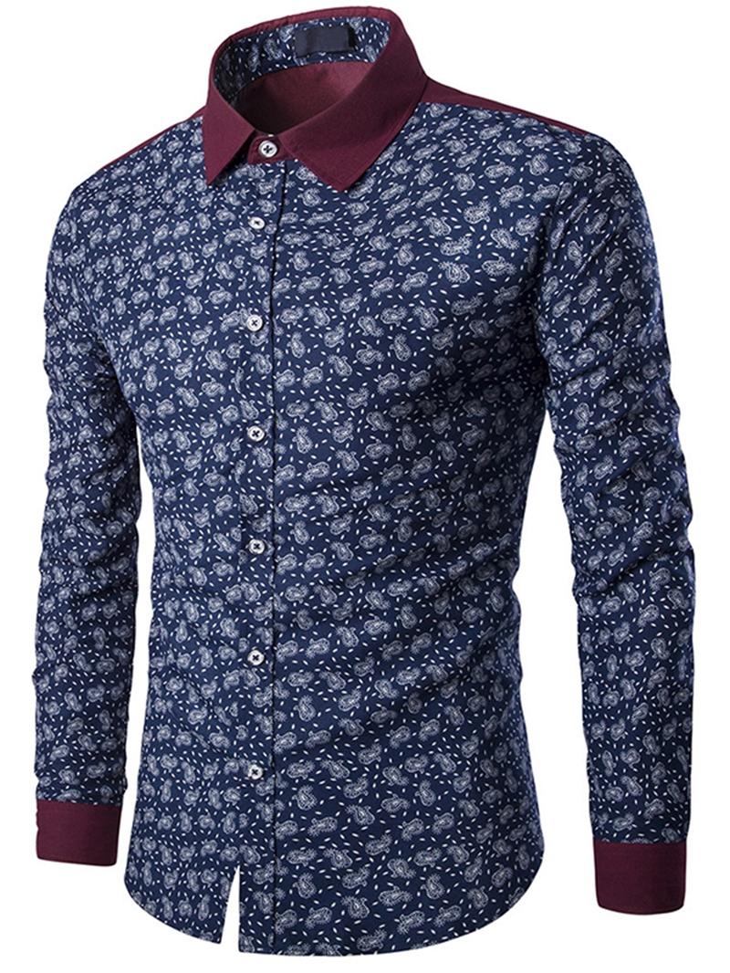 Ericdress Patchwork Color Block Print Slim Men's Shirt