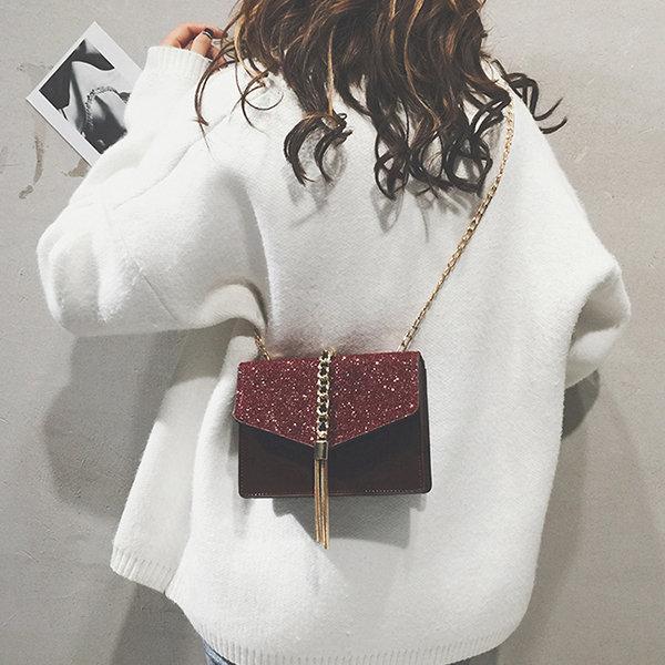 Women Faux Leather Chains Sequin Shoulder Bag