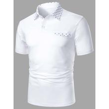 Men Polka Dot Button Front Polo Shirt