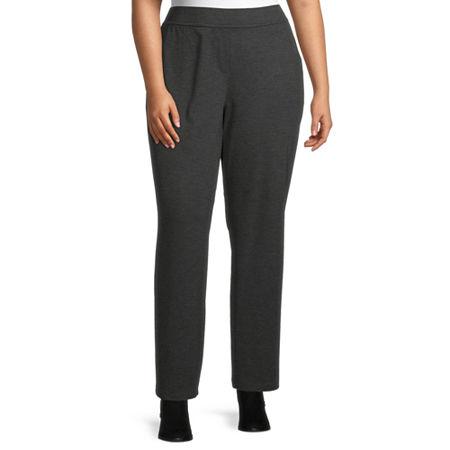 Liz Claiborne Ponte Pull On Pant - Plus, 2x , Gray