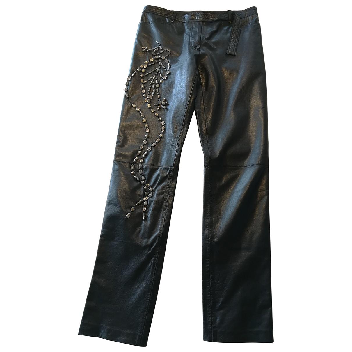 Patrizia Pepe \N Black Leather Trousers for Women 44 IT