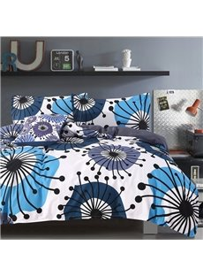 Adorila 60S Brocade Flying Dandelion Pattern 4-Piece Cotton Bedding Sets/Duvet Cover