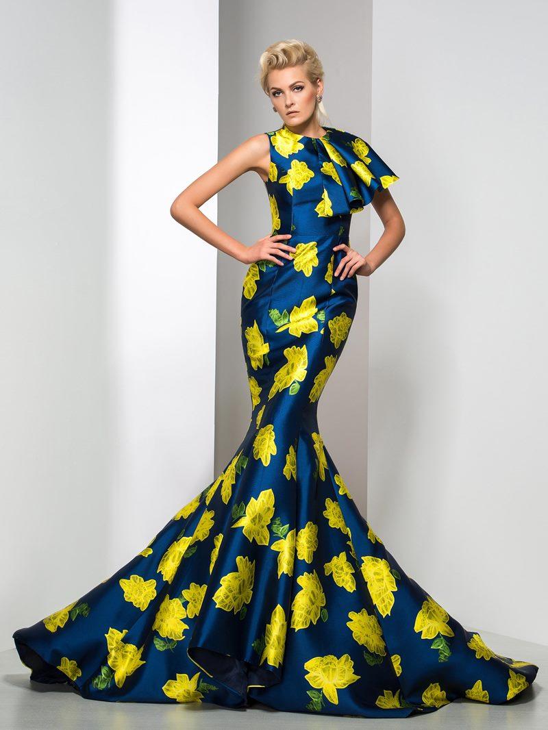Ericdress Floral Print Court Train Mermaid Evening Dress