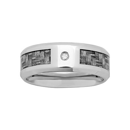 Mens Diamond-Accent Wedding Band in Stainless Steel, 12 1/2 , No Color Family