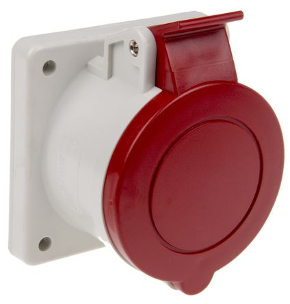 RS PRO IP44 Red Panel Mount 3P+N+E Industrial Power Socket, Rated At 16.0A, 415.0 V