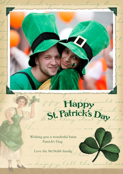 St. Patrick's Day Cards Flat Glossy Photo Paper Cards with Envelopes, 5x7, Card & Stationery -Happy St. Patrick's Day