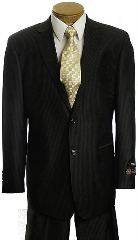 Mens Black Pinstripe 2 Button affordable suit online sale