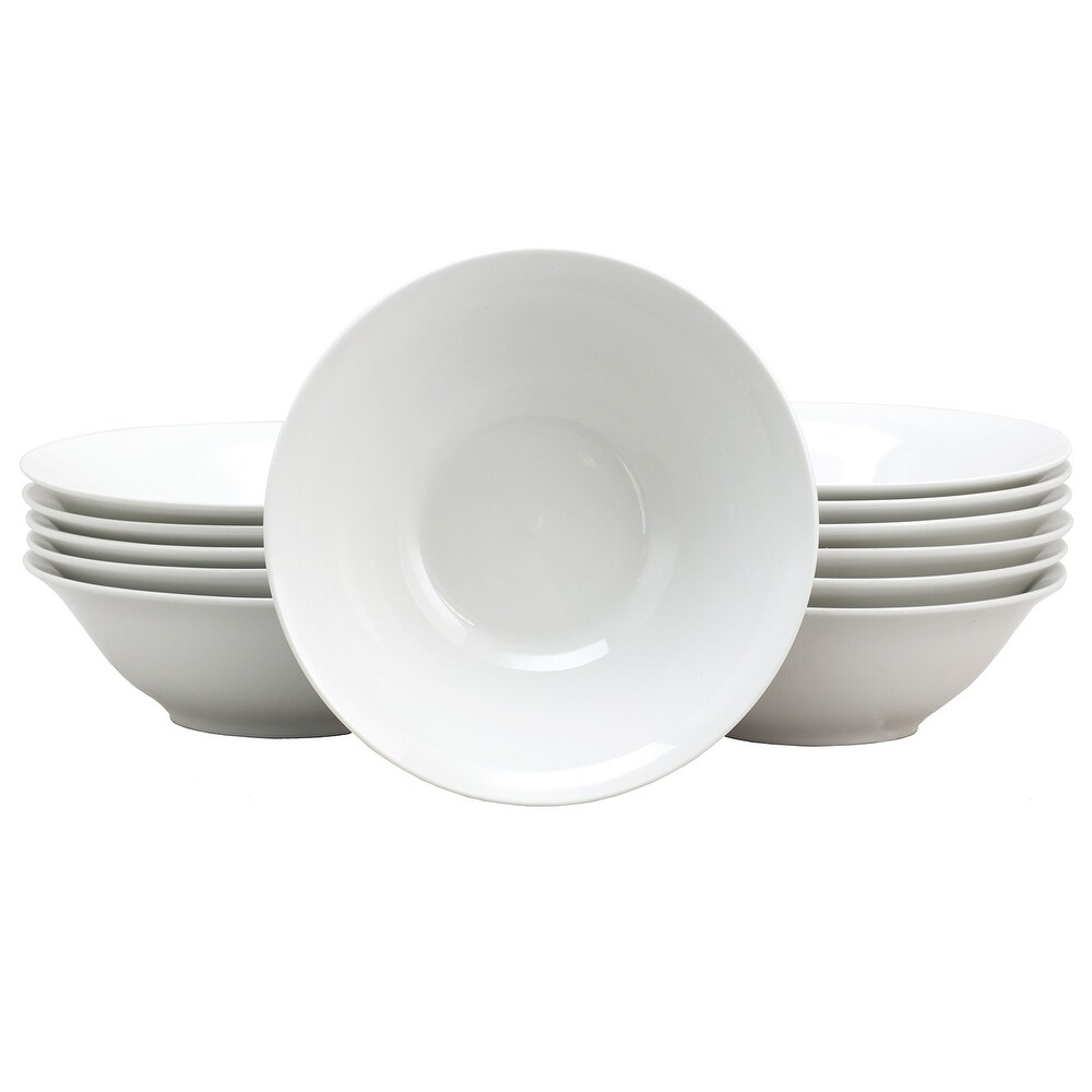 Gibson Home Noble Court Twelve Piece 7 Inch Fine Ceramic Bowls in White (12 Piece - White)