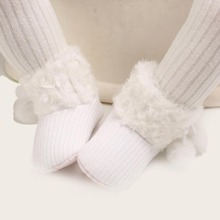 Baby Girls Fluffy Boots With Pom Pom