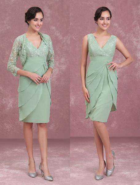 Milanoo Vestido para la madre de los novios de color verde salvia con cuello en V con 3/4 manga con capas ajustado hasta la rodilla