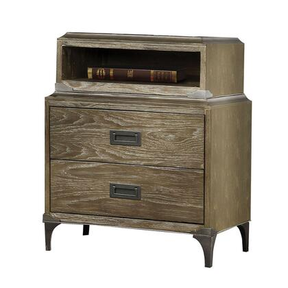 BM220337 2 Drawer Wooden Nightstand with 1 Open Case and Metal Legs
