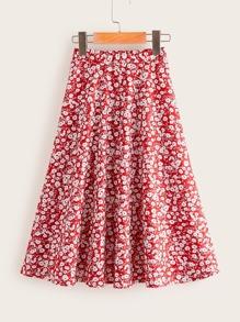 Girls Ditsy Floral Print Skirt