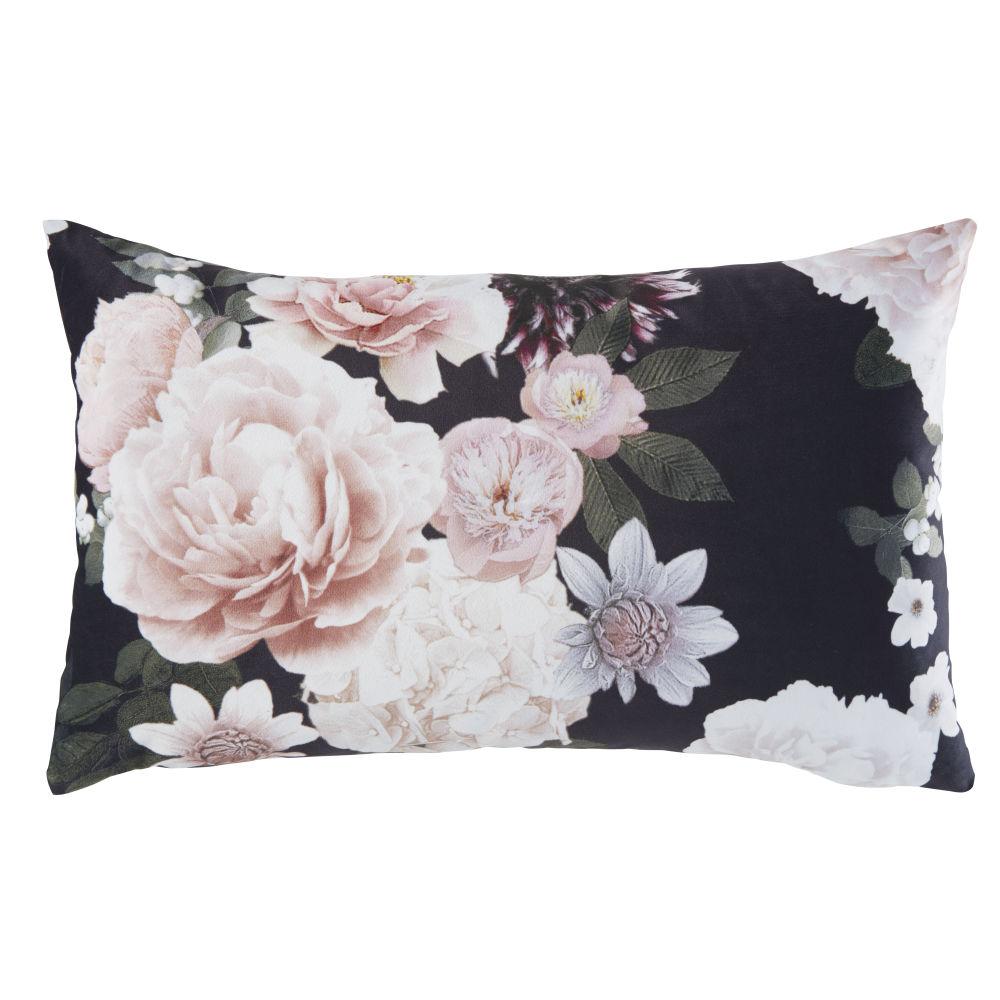 Kissen in Rose und Schwarz mit Blumen-Motiv 30x50