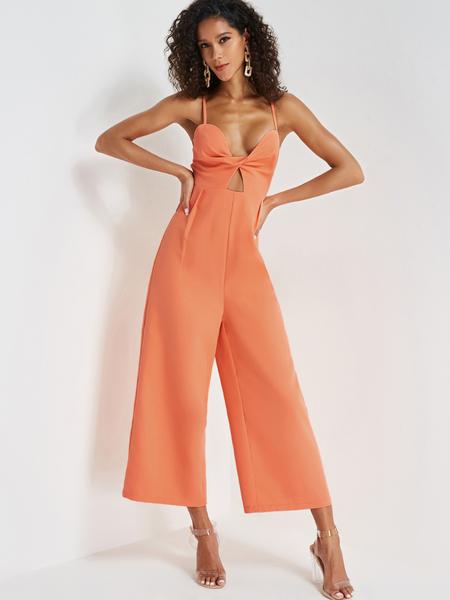 Yoins Orange Twist Spaghetti Strap Jumpsuit